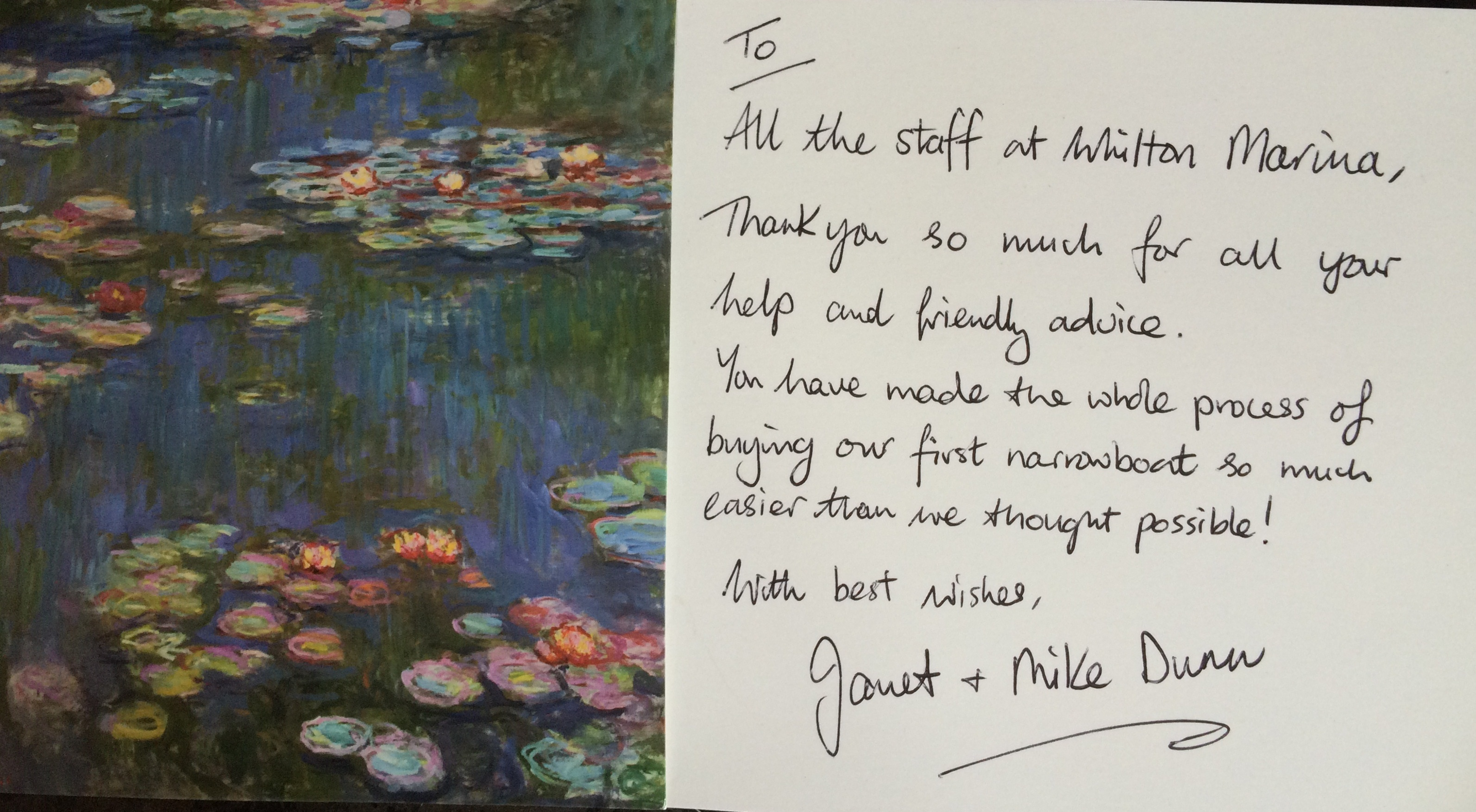 thank-you-card-received-from-the-buyers-of-narrowboat-benson