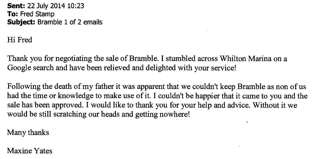 customer feedback from the seller of narrowboat Bramble